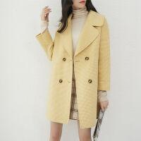 2019秋冬季流行千鸟格双面呢大衣女士零羊绒呢子毛呢外套女装