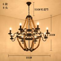 麻绳吊灯美式怀旧loft工业风酒吧台植物灯具网咖餐厅创意复古铁艺麻绳吊灯