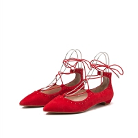 【限时3折】迪芙斯春季商场同款羊反绒尖头铆钉绑带低跟单鞋DF71111208
