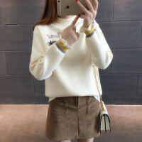 【6色6码】刺绣秋冬装韩版针织衫毛线衣女上衣圆领套头毛衣女