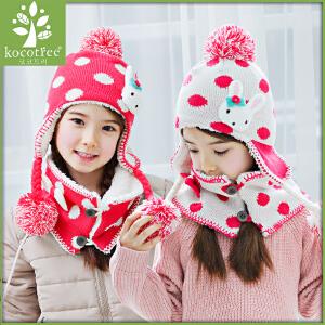 韩国KK树女童秋冬帽子围巾两件套淑女公主帽加绒护耳帽潮