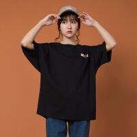 欧美女装字母短袖t恤女夏装新款2019嘻哈字母印花宽松T恤短袖女五分袖上衣