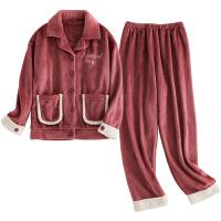 2018新款情侣睡衣秋冬款珊瑚绒冬季砖红色结婚新婚男女法兰绒套装