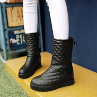 彼艾2016冬季新款平跟厚底内增高中筒防水靴圆头防水台加绒保暖雪地靴舒适女靴子