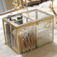 化妆棉收纳盒 防尘化妆棉签玻璃收纳盒 透明棉签盒桌面化妆品收纳盒欧式