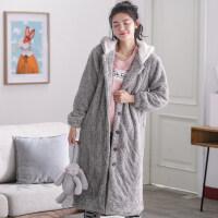 睡袍女冬三层夹棉加厚长款浴袍珊瑚绒保暖睡裙家居服可爱晨袍浴衣