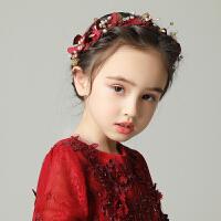 儿童头饰花环配饰发箍表演礼服生日饰品女孩酒红色花瓣发饰