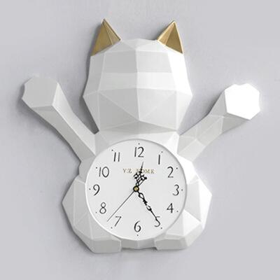北欧现代挂钟客厅个性创意招财猫静音时钟家居艺术装饰石英钟表  其他