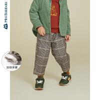 【每满299元减100元】迷你巴拉巴拉儿童裤子男女童加绒长裤2019冬装新款复古格子萝卜裤