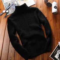 高领毛衣男韩版冬季套头针织衫男士加厚保暖毛衫潮流个性打底衫 黑色 931
