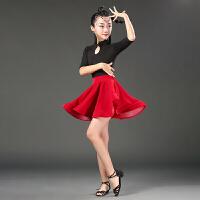 拉丁舞服装秋冬新款少儿拉丁舞表演比赛练功服女儿童加绒拉丁舞裙 时尚红 薄款中袖(全套)
