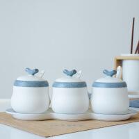 创意日式调味料盒套装陶瓷家用盐味精厨房用品调料瓶罐三件套简约