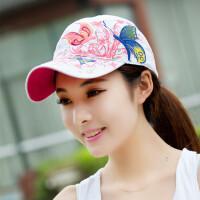 蝴蝶刺绣帽子夏季女士棒球帽户外嘻哈太阳帽鸭舌夏天遮阳帽 白色 可调节(55-60)cm