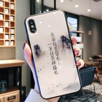 中国风苹果8plus手机壳iPhone6s钢化玻璃8x潮男款风景创意复古7和风山水画文字文艺八新款诗