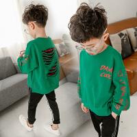 儿童童装男童套装春秋装2018新款韩版秋季运动中大童卫衣两件套潮