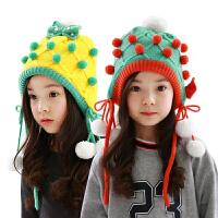 韩版儿童帽子冬男女童帽宝宝帽子秋冬款小孩护耳毛线帽潮2-4-8岁