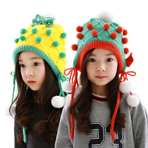 kk树儿童帽子冬男女童帽宝宝帽子秋冬款小孩护耳毛线帽潮2-4-8岁