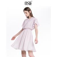 【领券到手价:62.3】欧莎粉色条纹收腰韩版法式少女时尚连衣裙女夏2019港味气质裙