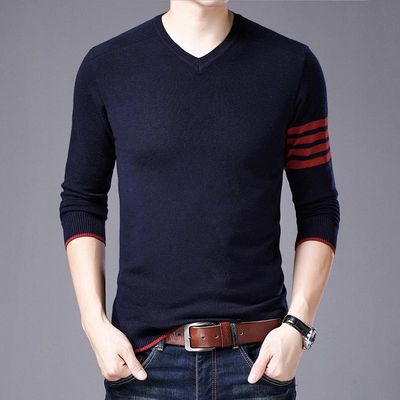 2018秋季新款长袖T恤男中青年男装V领薄款修身纯色针织衫毛衣 藏青色 FSM-8329 发货周期:一般在付款后2-90天左右发货,具体发货时间请以与客服协商的时间为准