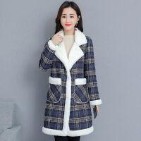 加绒毛呢棉衣女中长款2019冬季女装韩版宽松保暖加厚棉袄外套