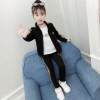 女童春装套装2019新款韩版儿童装洋气时髦春秋运动服4女孩6-12岁 TZ193黑色 110cm(110cm【2-3岁