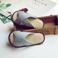手工纳底夏男女宝宝亚麻拖鞋1-3-5岁儿童防滑婴幼儿家居鞋