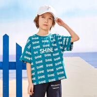 【限时99元3件】巴拉巴拉旗下2019夏季新款男童中大童字母满印时尚休闲短袖T恤