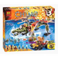 欢乐童年-兼容乐高式气功传奇 10358神兽鳄灵王 神兽金狮蛮鳄合体救援机积木
