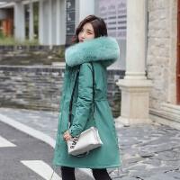 实拍19秋冬新款羽绒服女韩版中长款宽松bf收腰显瘦派克皮草外套