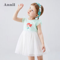 安奈儿童装女小童连衣裙2020夏季新款美人鱼洋气宝宝网纱蓬蓬裙子5