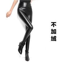 秋冬季PU女士加绒加厚皮裤韩版高腰女打底裤女外穿显瘦黑色小脚裤