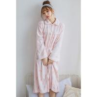 法兰绒睡袍女可爱秋冬季女生加长款加厚珊瑚绒睡裙长袖浴袍睡衣 均码