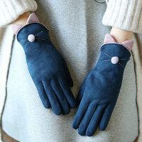 手套女士秋冬季韩版甜美可爱学生开车骑车加绒加厚保暖分指触摸屏