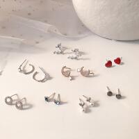 s925纯银针韩国气质简约个性网红会动的设计感耳钉小众耳坠女耳环