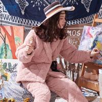 黛梦思 冬季加厚三层夹棉珊瑚绒睡衣女保暖棉袄时尚女士家居服套装可外穿
