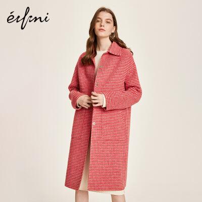 伊芙丽冬装新款红色羊毛双面呢子大衣长款格子毛呢外套女