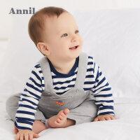 【2件45折:134.6】安奈儿童装男童婴童背带裤套装2019秋装新款宝宝两件套潮