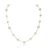 MELUXE S925银-黄 新品 精工镶嵌6-8mm淡水珍珠项链约:45CM S9933
