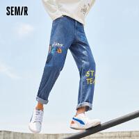 森马牛仔裤男直筒2021秋季新款潮流个性创意艺术涂鸦青年休闲长裤