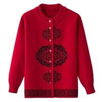 中老年人女装秋冬装针织衫毛衣妈妈装春装老太太奶奶唐装开衫毛衫