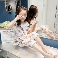 儿童睡衣纯棉夏季短袖两件套女童睡裙公主风大童薄款12-15岁夏装