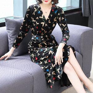 RANJU然聚2018秋季女装新品新款波西米亚长款连衣裙修身气质优雅印花度假裙