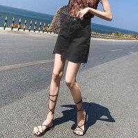黑色牛仔短裙女春夏2019新款韩版高腰a字裙子ins超火包臀半身裙裤 X
