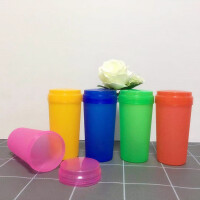 广告杯子定制印字logo玻璃水杯开业促销礼品杯定做双层塑料随手杯