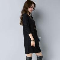 秋冬毛衣女套头中长款宽松大码女装V领针织打底衫长袖加厚毛衣裙 S 建议80--95斤