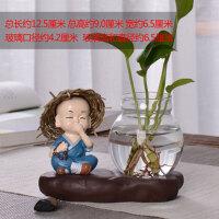 创意玻璃摆件和尚小花器家居装饰品茶桌绿萝花插花瓶陶瓷水培容器装饰摆件 草帽-不说