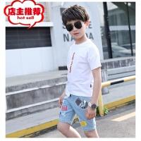 男童夏装2019新款套装中大童儿童休闲夏季短袖韩版牛仔裤套装潮