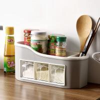 厨房调味盒置物架套装 多功能盐罐收纳盒储物架 筷子调料罐收纳架