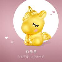 六福珠宝独角兽珐琅工艺黄金吊坠足金吊坠不含链定价GFA1TBP0026