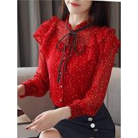 春装新款女装韩版很仙的超仙上衣波点蝴蝶结雪纺衫女长袖衬衫